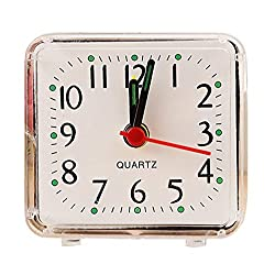 CieKen Simple Bedroom Alarm Clock, Silent Non Ticking Analog Small Lightweight Alarm Clock, Sound Crescendo, Mini Sized Travel Quartz Alarm Clock, Battery Operated (White)