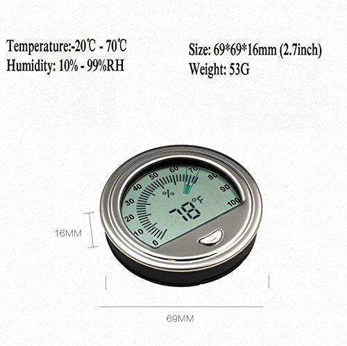 MAYBAO Cigar Humidor Hygrometers Cigar Thermo-Hygrometer Tobacco Hygrothermograph (Silver) by MAYBAO