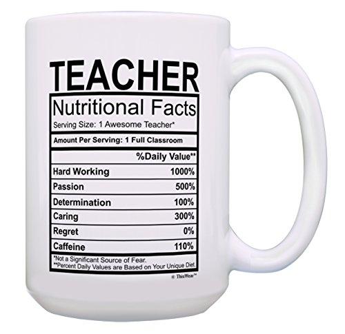 Teacher Appreciation Gifts for Women Teacher Nutritional Facts Teacher Appreciation Gift Gift 15-oz Coffee Mug Tea Cup 15 oz White (C Table Ring Side)