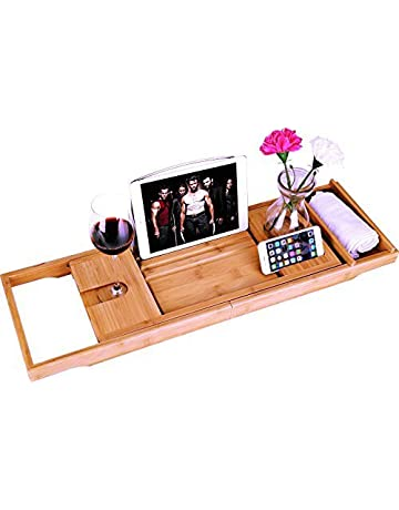 Original Bamboo Bathroom Tray Telescoping Bathtub Desk For Phone Laptop Notebook Wine Glasses Candles Bathroom Shelf Bathroom Fixtures