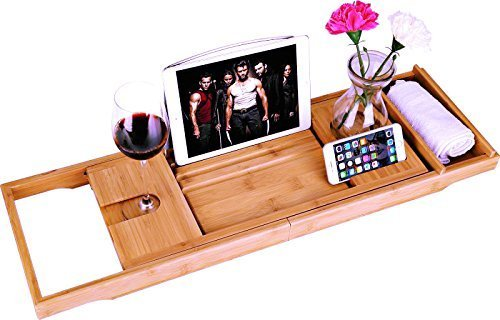 BOSSJOY Luxury Wood Bamboo Bathtub Bath Tub Caddy Tray with Extending Sides Built in Book Tablet Phone Wineglass Holder - Wine Accessory Valet