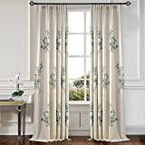 Anady Top Set of 2 Panels/Pair Cream White Drapes,Polyester Linen Blue Peach Blossom Flower Embroidery Curtains for Living Room Plain Top,Each Panel 42W by 100L-Inch Extra Long