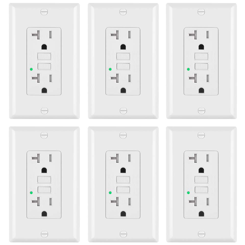 6-Pack, ELECTECK GFCI Outlets, Tamper-Resistant (TR) GFI Receptacles with LED Indicator, 20A/125V/1875W, Decorator Wall Plates and Screws Included, ETL Certified, White