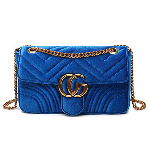 Fashion Shoulder Bag Leather Crossbody Lattice Handbag Quilted Purse for Woman Teen Girls (Blue Velvet - Flap Small Bag