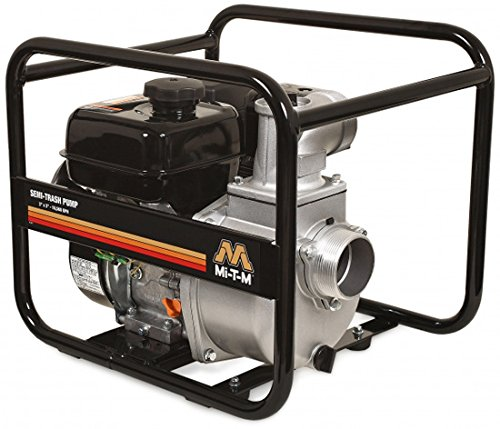 Mi-T-M WTP-S03-2MGM Semi Trash Pump, 212cc OHV Engine, Steel, 104' Maximum Head, (Cast Iron Volute)