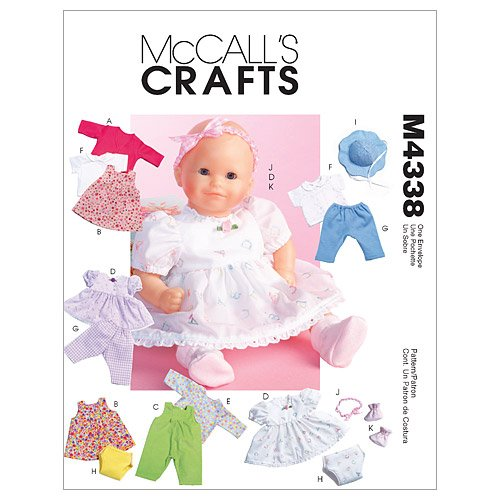 (McCall's Patterns M4338OSZ Baby Doll Clothes)