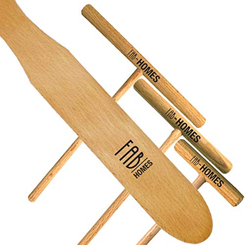 Fab Homes | Crepe Spreader & Spatula Set | Natural Beechwood | 14-inch Spatula | 3.5-5 - 7 inch Spreaders | Elegant Finish | Crepe Spreader | Home Kitchen | Breakfast Pancakes