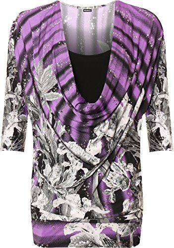 Femmes bnitier Insrer Taille courtes 42 Hauts 56 Violet Top Plus col manches Tailles Imprimer Noir WearAll IdgnvqCww