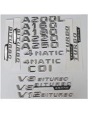 Voor Mercedes Benz A45 A180 A200 A220 A250 V8 BITURBO AMG 4 MATIC, 3D Chrome Kofferbak Achter Nummer Letters Badge Embleem Sticker