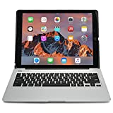 iPad Pro 12.9 keyboard case, [NEW] COOPER KAI SKEL A1 Backlit Aluminum Bluetooth Wireless Keyboard Macbook Clamshell Case Cover with Rechargeable Battery Power Bank for Apple iPad Pro 12.9 inch Silver