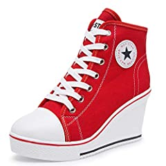 High Wedge Heel Sneakers Canvas Lace up High Top Side Zipper Fashion Shoes Size Table: Footlength 9.05 inches = 5.5 B(M)US/Label 36 Footlength 9.25 inches = 6-6.5 B(M)US/Label 37 Footlength 9.44 inches = 7-7.5 B(M)US/Label 38 Footlength 9.54 ...