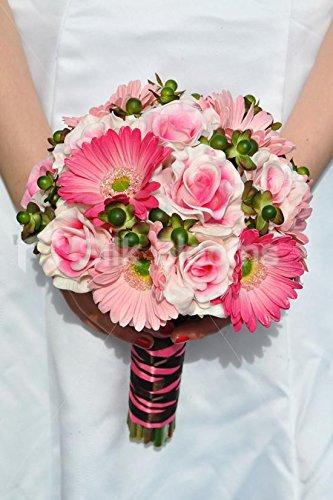 Bouquet Sposa Gerbere.Vibrant Artificial Fresh Touch Pink Rose And Gerbera Wedding