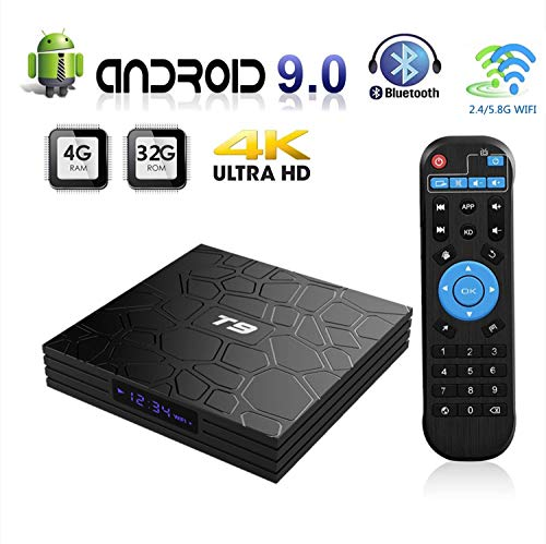 Android 9.0 TV Box,Smart T9 Android TV Box 4GB RAM 32GB ROM RK3328 Quad-core 64 Bits Set Top Box Support 4K 3D 2.4Ghz…