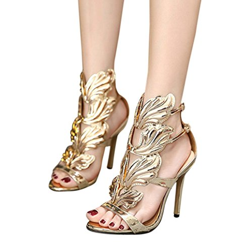VEMOW Sandals for Women Girls Ladies 2018 Spring Summer New UK Office Sexy Home Party Club Black Khaki Gold Dancer Pumps Leaf Flame High Heel Shoes Sexy Peep Toe High Heels Sandals Gold Gb1dPLTKy