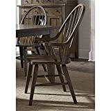 Liberty Furniture Hearthstone Windsor Back Dining Arm Chair in Oak For Sale