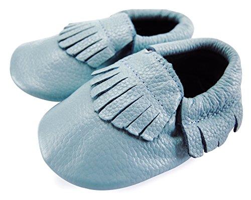 Axy piel unidad lernschuhe patucos–Zapatos para bebé con diferentes colores blanco azul Talla:0-6 meses azul