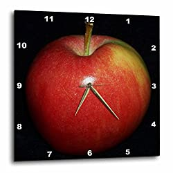 3dRose dpp_21643_1 Red and Yellow Apple Black Background-Wall Clock, 10 by 10-Inch