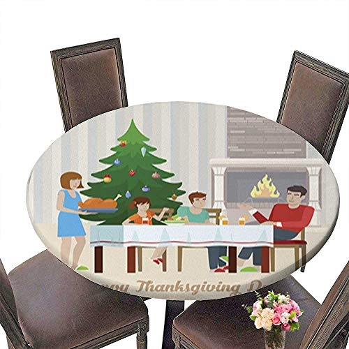 (Polyester Round Tablecloth,Flat Design Vector Happy Thanksgiving Day Postcard Greeting Card Template fami Easy Care Spillproof up to 63.5