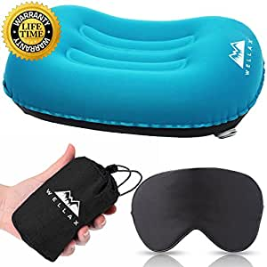 WellaX Ultralight Camping Pillow - Compressible, Compact, Inflatable, Comfortable, Ergonomic Pillow for Neck & Lumbar Support and a Good Night Sleep While Camp, Backpacking (Blue)
