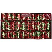 Poinsettia English Christmas Party Crackers - Set of 10