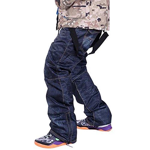 Skis Trousers Unique Denim Suspenders Skiing pants Waterproof Breathable Warm Skiing and Snowboarding Pants