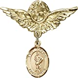 14kt Yellow Gold Baby Badge with St. Florian Charm and Angel w/Wings Badge Pin 1 1/8 X 1 1/8 inches