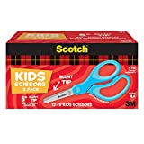 Scotch Kids Scissors, 12 Pack, Blunt, Stainless Steel, Soft Grip, Blue, 5""