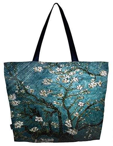 Lightweight Travel Beach Tote Bag Foldable Reusable Shopping Shoulder Hand Bag - van Gogh Almond Blossom, Large
