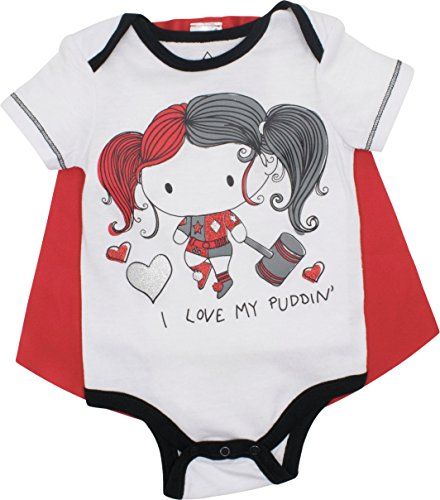 DC Comics Harley Quinn Baby Girls' Bodysuit and Cape, White (6-9 Months) -