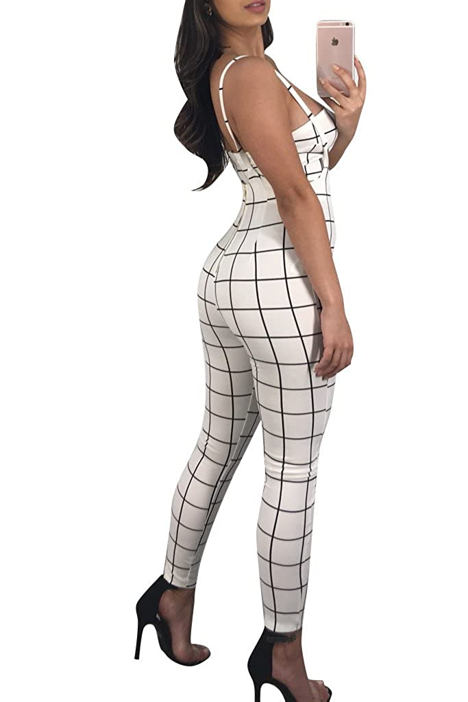 af906f4934f Amazon.com  Felicity Young Women Spaghetti Strap Plaid Print Crop Top  Skinny Pants Bodycon Jumpsuit Romper Cubwear Hollow Out Playsuit White