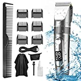 Hair Clippers for Men, Professional Hair Trimmer Cordless Rechargeable Led Display 5 Speed Adjustment Electric Hair Clippers