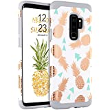 BENTOBEN Galaxy S9 Plus Case, Samsung Galaxy S9 Plus Pineapple Cases 2 in 1 Hard PC Cover Hybrid TPU Bumper Shockproof Protective Phone Cases for Girls, Women – White/Grey