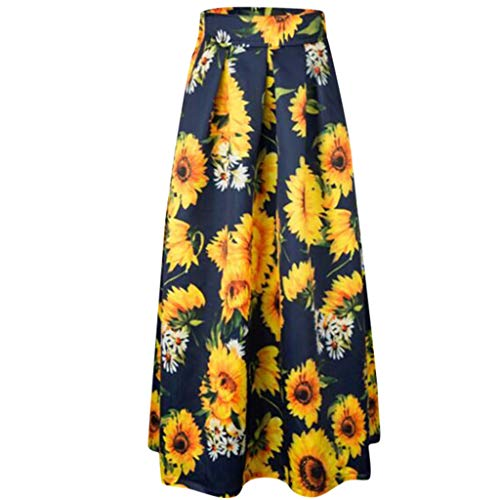 Aniywn Women's Skirt High Waist Dress Casual Polka Dot Printed Pleated A-Line Maxi Party Skirts Dress Yellow ()