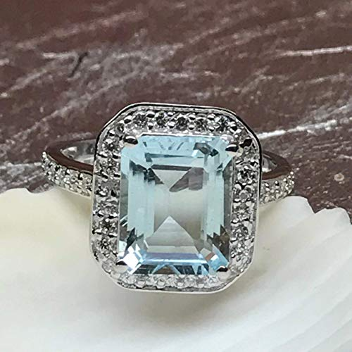Estate Natural AAA 2.5ct Aquamarine, Accent Stone 925 Solid Sterling Silver Emerald Cut Ring sz 6, 7