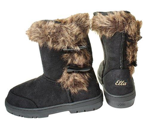 Button Calf suela Ladies Festival de High Snow Flat Winter Forrado Piel 7 Black dura Ella 5 Botas Comfy 3 Tamaños UK Womans Duffle Tobillo 8 4 6 Rodilla pwxZdKqz
