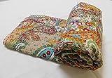 king handmade quilts - Sophia Art Indian Handmade Paisley Print King Size Kantha Quilt , Kantha Blanket, Bed Cover, King Kantha bedspread, Bohemian Bedding Kantha Size 90 Inch x 108 Inch (Beige))