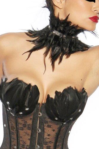 Black Swan–Corpiño con plumas y brillantes, incluye collar negro, tallas S - XL (13174)