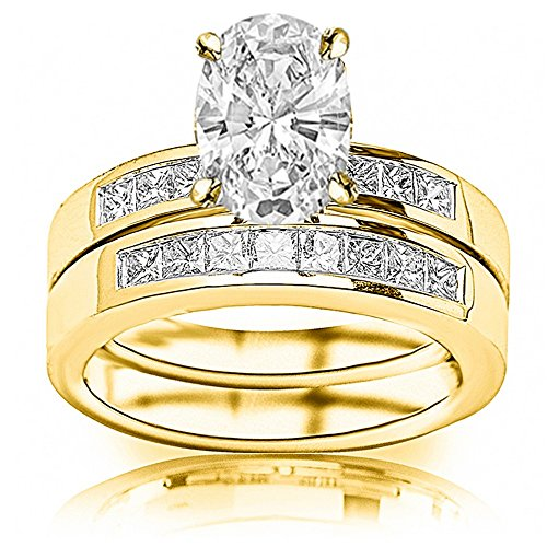 1.59 Carat t.w. 14K Yellow Gold Oval Classic Channel Set Princess Cut Diamond Engagement Ring with a 0.74 Ct E SI2 Center