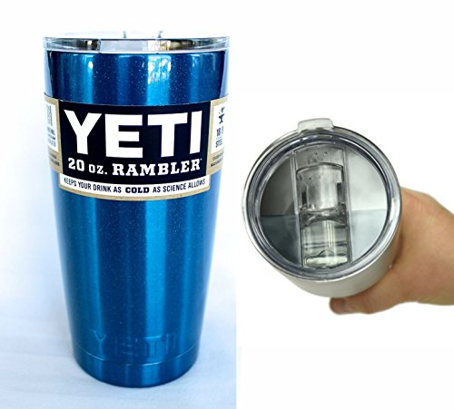 Custom Yeti Coolers 20 oz Rambler Tumbler Cup with Extra Spill Proof Lid - Keeps your drink cold or hot for hours (Blue Metallic)