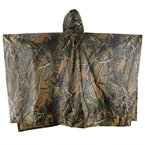 (ELLEN Multifunction Waterproof Raincoat Military Camouflage Poncho for Camping Tent Rain Cover Outdoor (Maple Leaf Camouflage))