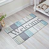 Decor Love 3D Printing Non-slip Doormats Mud Dirt Trapper Mats Entrance Rug Shoes Scraper Floor Indoor/Outdoor/Kitchen/Garden/Patio(Welcome Rustic Wood) 16 x 24inch
