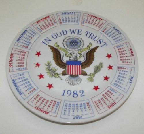 In God We Trust 1982 Calendar Plate