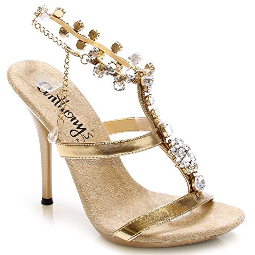 A-509, Hot Shoes Diamond Crystal Stone W/Ankle Strap 5 Heel Party Sandal. Gold