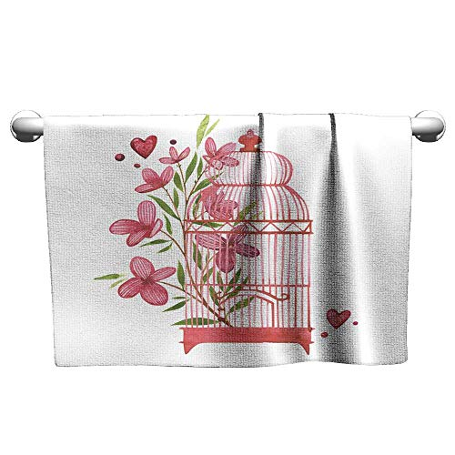 - Baby Beach Towel Bird cage with Flowers Watercolor Pink Set of Elements for Valentine s Day Scrapbook Design Elements Typography Poster Card Label Banner Design Set Beach Towel 20 x 20 Inch