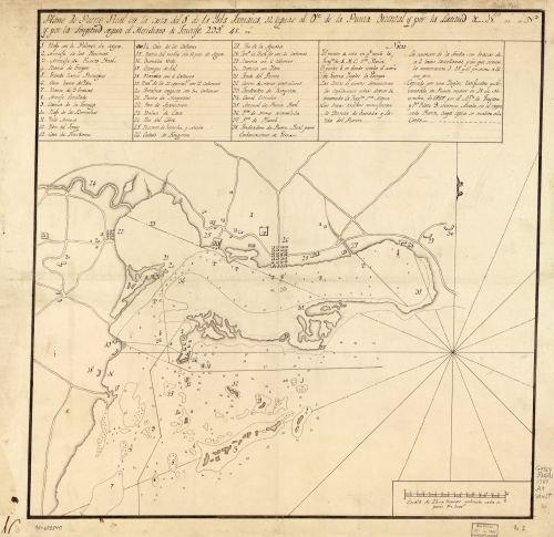 1787 Map Plano de Puerto Real en la costa del S. de la Ysla Jamaica, 12 leguas al ote. de la Punta - Costa Discount Code