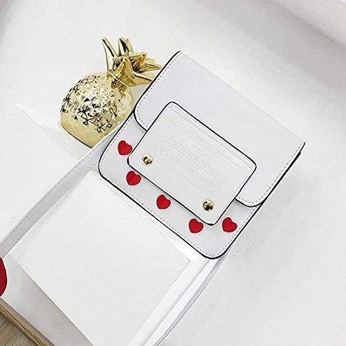 Blanc cuir Porte Sac avec Coeur en Messenger PU Filles épaule Mignon sacs Sac Bandoulière pour Demiawaking Femme WSFf06W