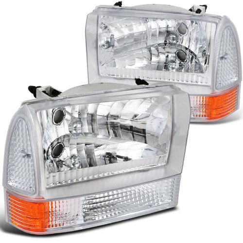 Spec-D Tuning 2LCLH-F25099-ABM Headlight (Combo Euro Chrome Housing With Corner Light) - Excursion Euro Headlights
