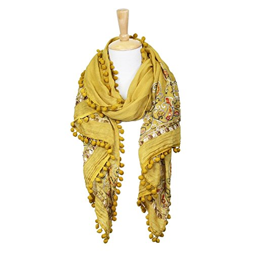 Me Plus Soft Long Floral Paisley Embroidered Lightweight Spring Fall Winter Scarf Shawl Wrap (Paisly 2 - Mustard)
