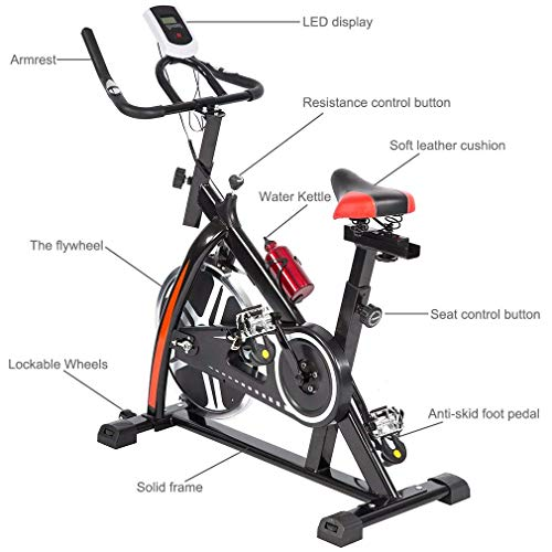 BestMassage Cycling Bike Exercise Bike Pro Indoor Cycling Spin Bike Trainer Bicycle Cardio Fitness Heart Pulse W/LED Display Stationary Indoor Pro Indoor Training Equipment by BestMassage (Image #3)