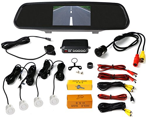 VMATE Car Reversing kit- 4.3 Inch TFT LCD Rearview Mirror Monitor, Backup Camera, 4 Parking Sensors Alarm (Car Reversing kit white snesors)